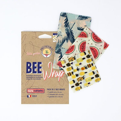Bee Wrap 3 emballages réutilisables Ananas taille S